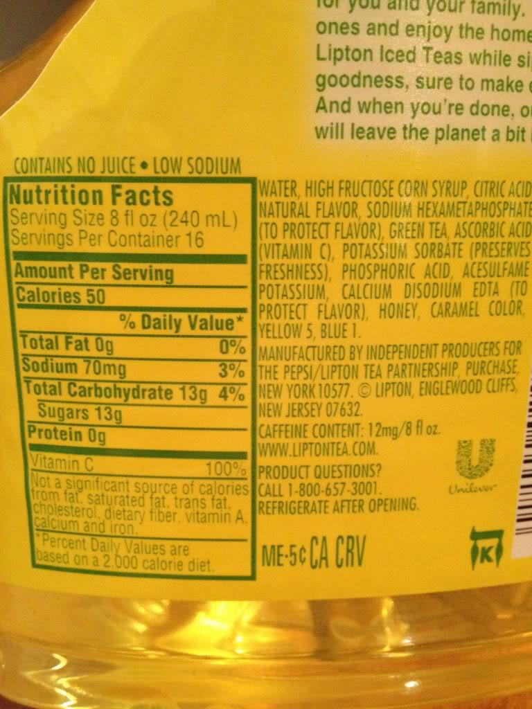 Lipton Green Tea Bottle Nutrition Facts - Nutrition Ftempo